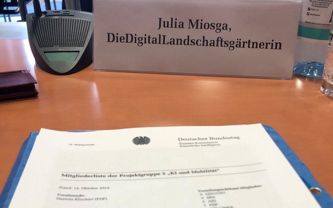 """Enquete-Kommission Chancen und Herausforderungen des Einsatzes  KI-basierter Technologien im Bereich """"Straße"""""""